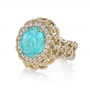 Paraiba Tourmaline Chain Ring